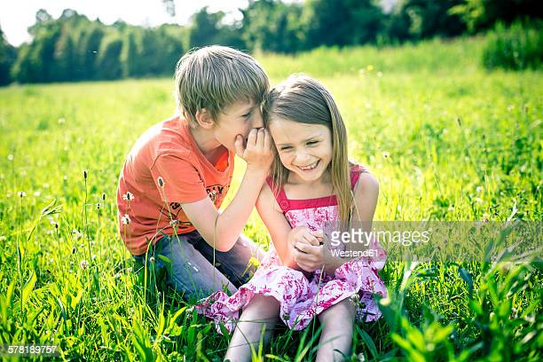 boy whispering something in the ear of his sister - gossip stock pictures, royalty-free photos & images