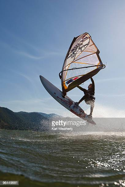 boy windsurfing - hood river stock pictures, royalty-free photos & images