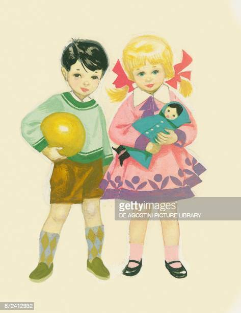 Boy with a ball and girl holding a doll children's illustration drawing