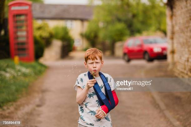 boy with a broken arm blowing dandelion seeds - broken arm stock pictures, royalty-free photos & images