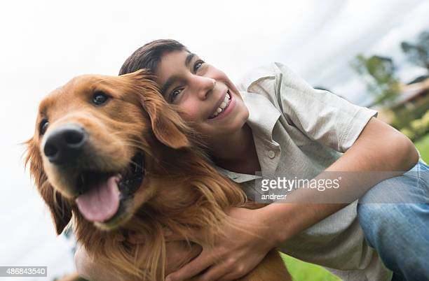 Boy with a dog at the park