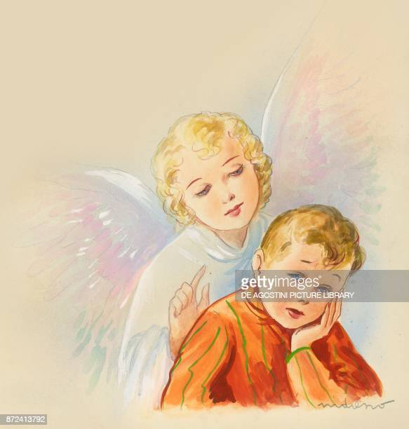 Boy with a loving angel behind him children's illustration drawing