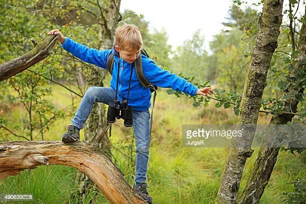 Petit garçon avec sac à dos et jumelles en équilibre sur un arbre