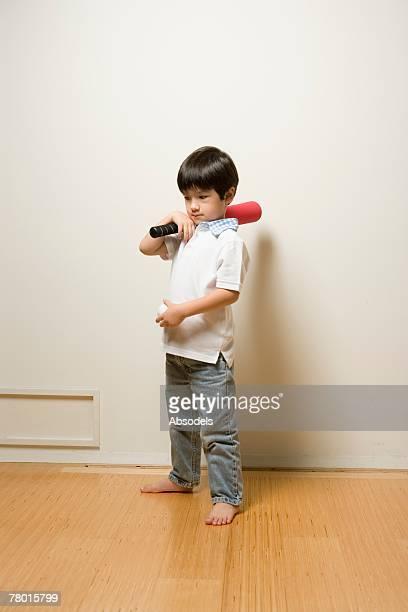 A boy with baseball kits