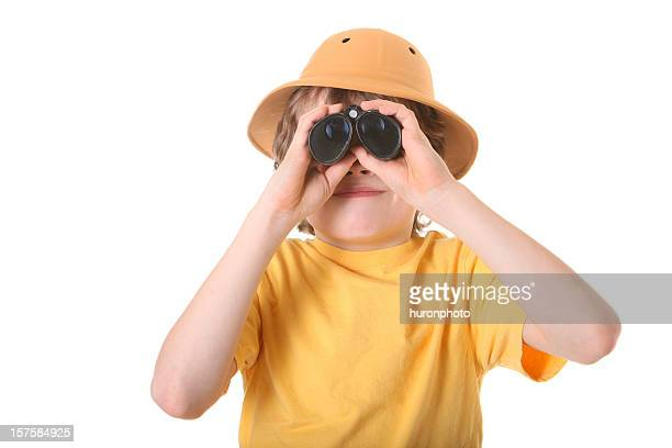 boy with binoculars - pith stock photos and pictures