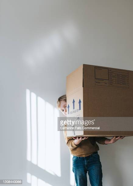 boy with cardboard box - arrival stock pictures, royalty-free photos & images