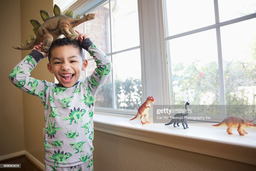 Boy with dinosaur figurines : Stock Photo