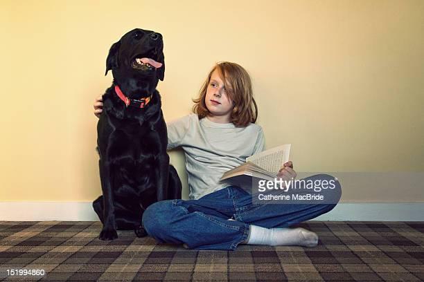 boy with dog - catherine macbride fotografías e imágenes de stock