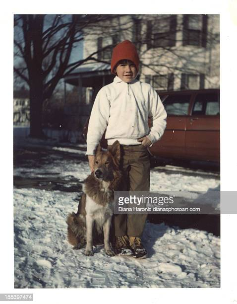 boy with dog - evanston illinois stock pictures, royalty-free photos & images