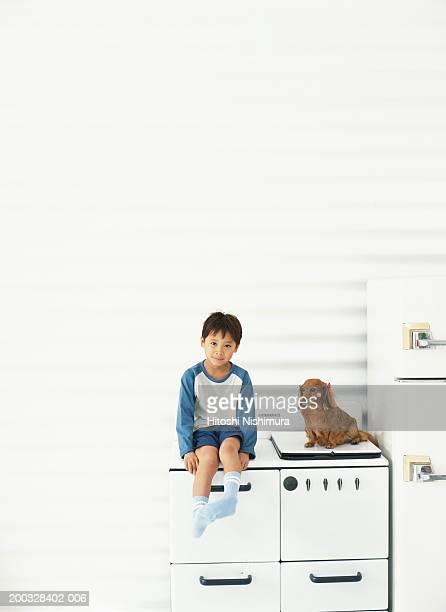 Boy (4-7) with dog sitting on cabinet, portrait