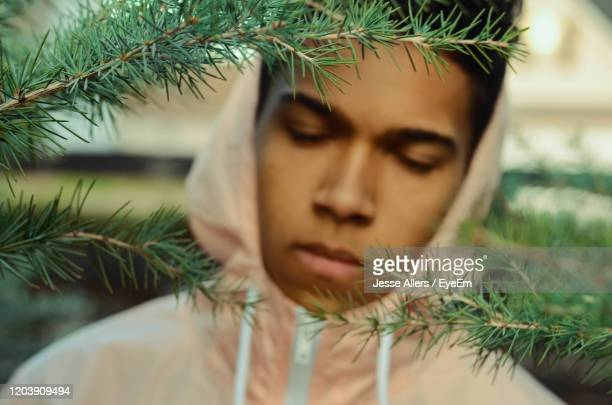 boy with eyes closed by tree - jesse stock pictures, royalty-free photos & images
