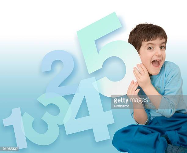 Boy with five numbers