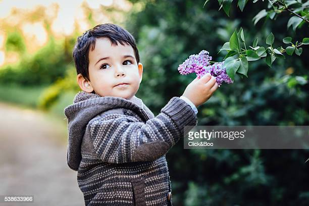 Boy with flowers - Spring