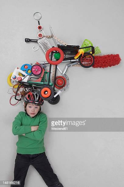 Boy with gadgets, portrait