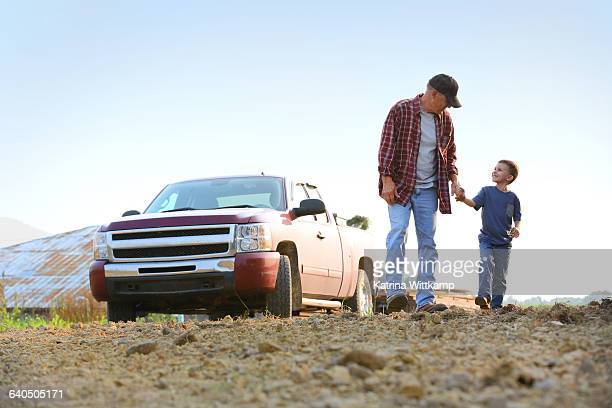 boy with grandfather. - pick up truck stock pictures, royalty-free photos & images