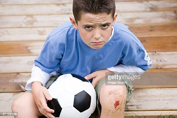 boy with grazed knee - bloody leg stock photos and pictures