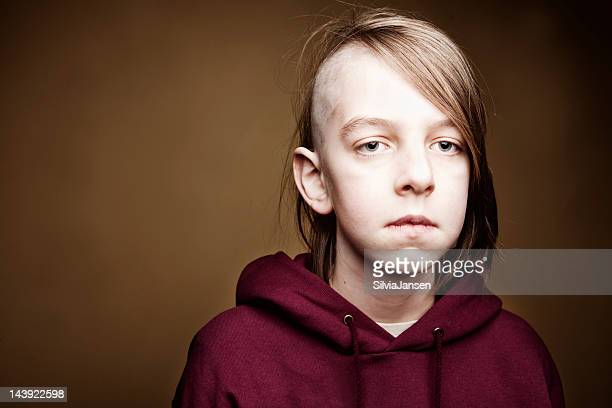 boy with half shaved head