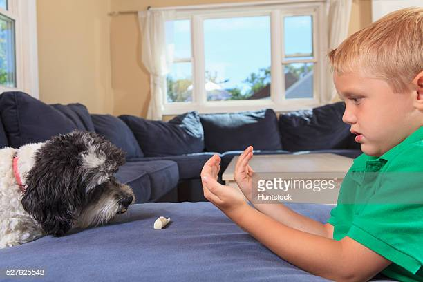 Boy with hearing impairments signing come get it in American sign language on their couch