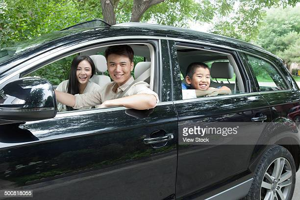 Boy with his parents on travel