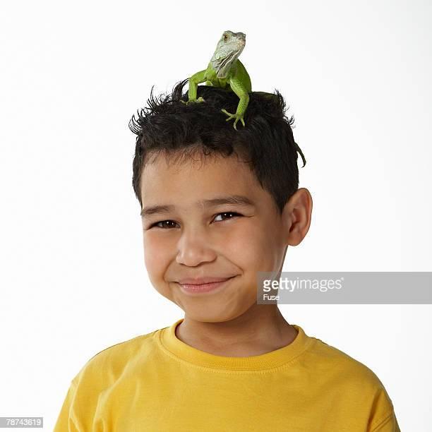 Boy with Iguana