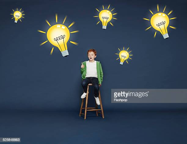 Boy with lightbulbs