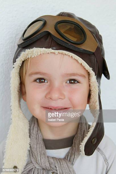 boy with pilot hat and goggles - aviation hat stock photos and pictures
