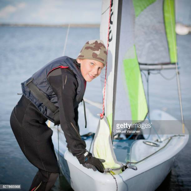 boy with sailing boat