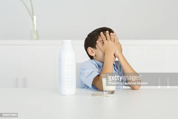 Boy with spilled milk, covering face with hands