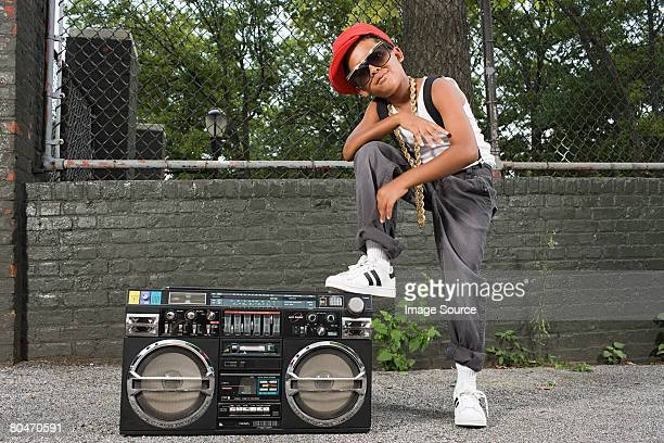 boy with stereo - bling bling stock pictures, royalty-free photos & images