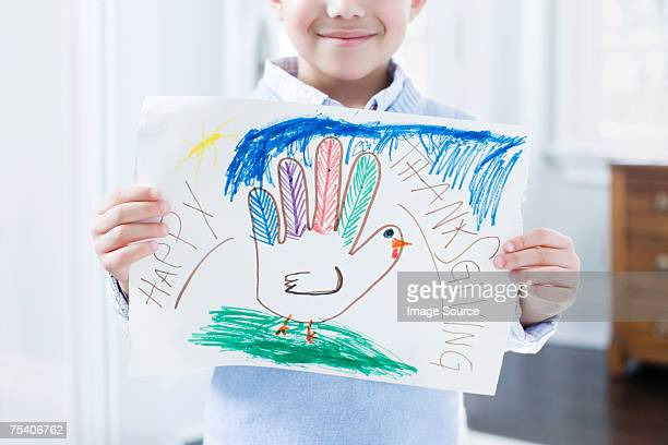 boy with thanksgiving picture - happy thanksgiving text stock pictures, royalty-free photos & images