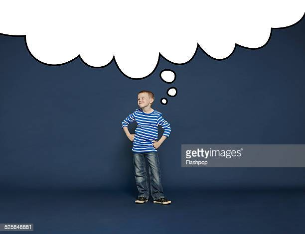 boy with thought bubble - arms akimbo stock pictures, royalty-free photos & images