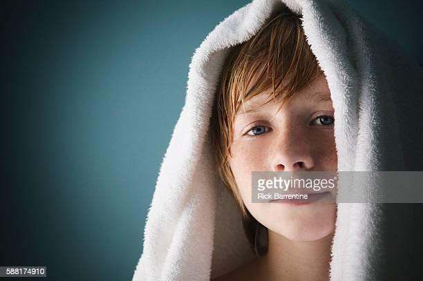Boy with Towel on Head