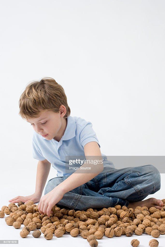 Boy with walnuts : Stock Photo