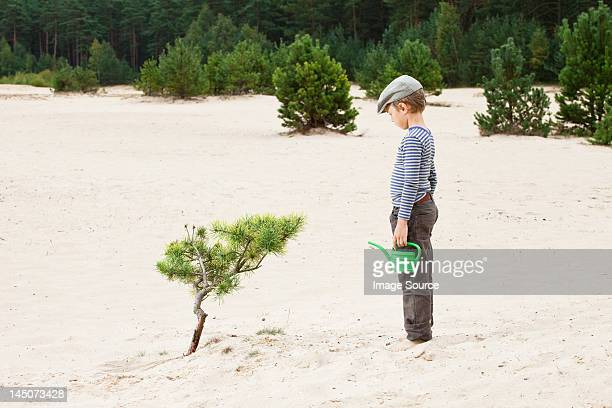 Boy with watering can, looking at plant in sand