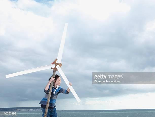 Boy with wind turbine