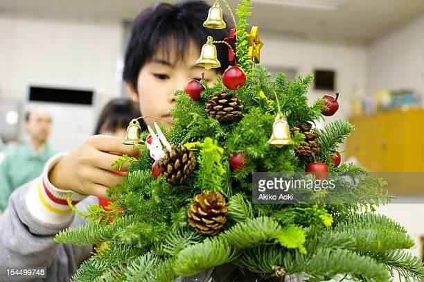 Boy with Xmas tree
