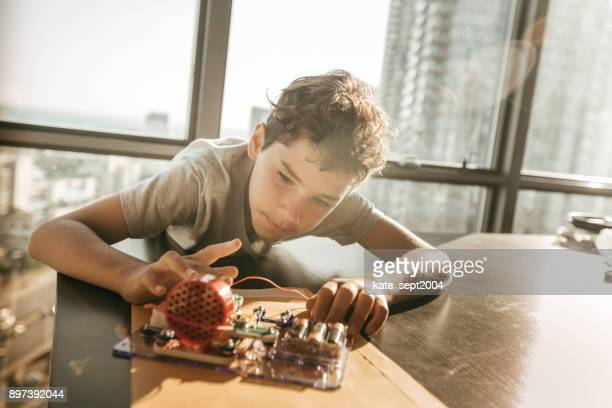 Boy working on a project