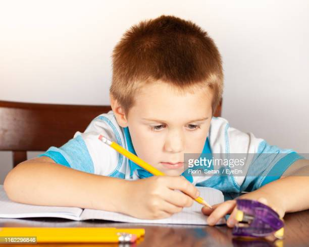 boy writing in book while sitting at table - florin seitan stock pictures, royalty-free photos & images