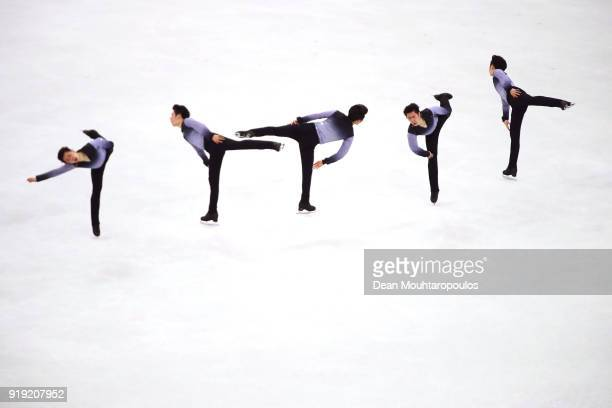 Boyang Jin competes during the Men's Single Free Program on day eight of the PyeongChang 2018 Winter Olympic Games at Gangneung Ice Arena on February...