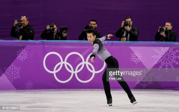 Boyang Jin of China competes during the Men's Single Free Program on day eight of the PyeongChang 2018 Winter Olympic Games at Gangneung Ice Arena on...