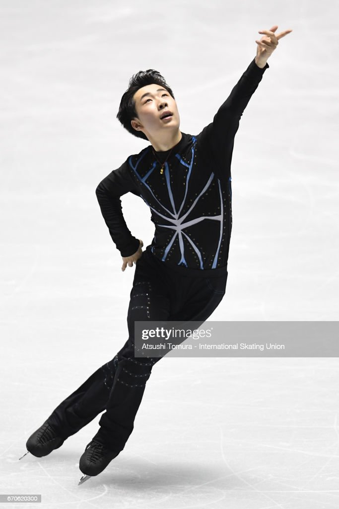 Boyang Jin of China competes in the Men short program during the 1st day of the ISU World Team Trophy 2017 on April 20, 2017 in Tokyo, Japan.