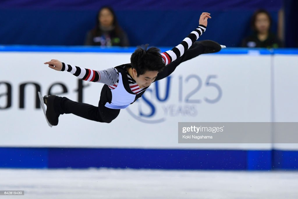 Boyang Jin of China competes in the men's free skating during ISU Four Continents Figure Skating Championships - Gangneung -Test Event For PyeongChang 2018 at Gangneung Ice Arena on February 19, 2017 in Gangneung, South Korea.
