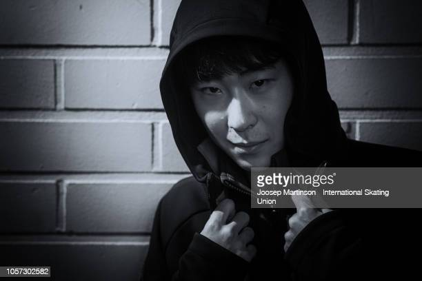Boyang Jin of China poses for a photo during day three of the ISU Grand Prix of Figure Skating at the Helsinki Arena on November 4 2018 in Helsinki...