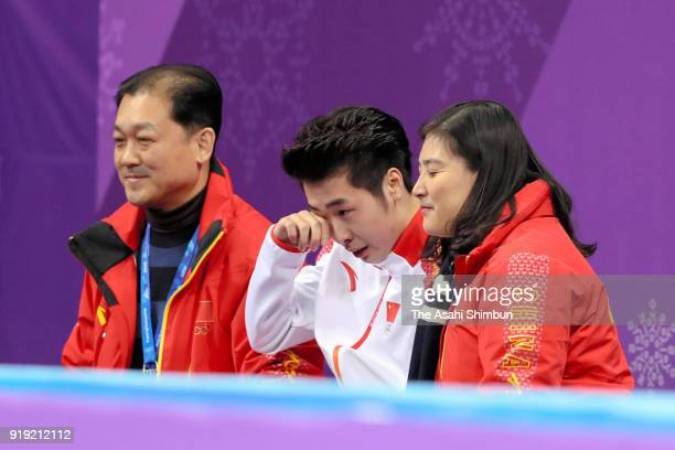 Boyang Jin of China sheds tears with joy after his score is announced after competing in the Men's Single Free Skating on day eight of the...