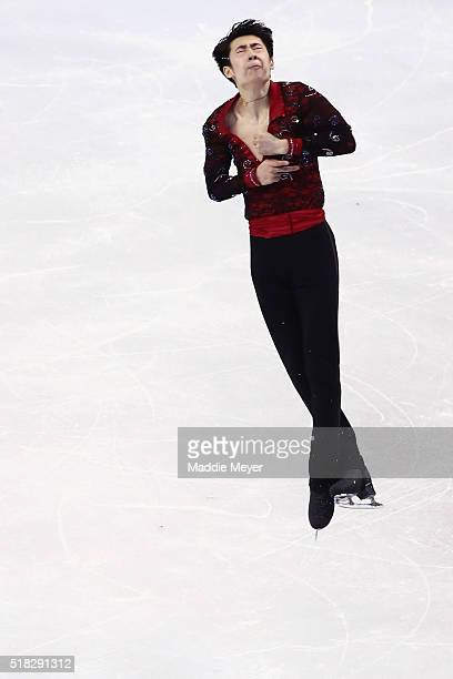 Boyang Jin of China skates in the Men's Short program during day 3 of the ISU World Figure Skating Championships 2016 at TD Garden on March 30 2016...