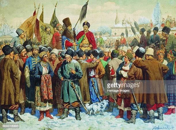 Boyar Vasili Buturlin's speech at the Rada of Pereyaslav 1880 Found in the collection of Russian State Library Moscow Artist Kivshenko Alexei...
