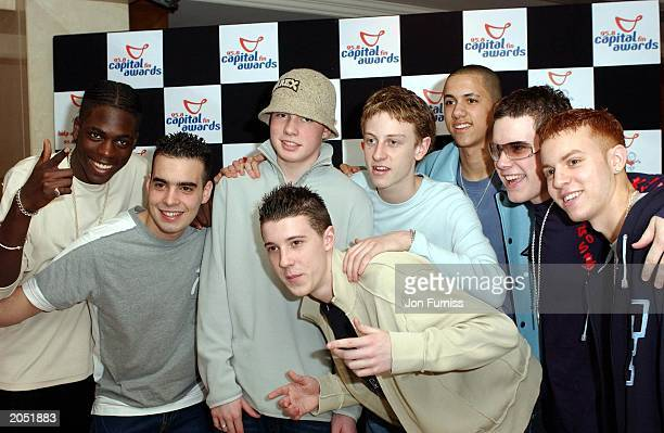 Boyband Blazin Squad attend the Captial FM Awards for Help A London Child at the Royal Lancaster Hotel on April 16 2003 in London England