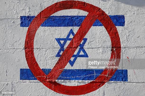 Boycott Israel tag in the West Bank.