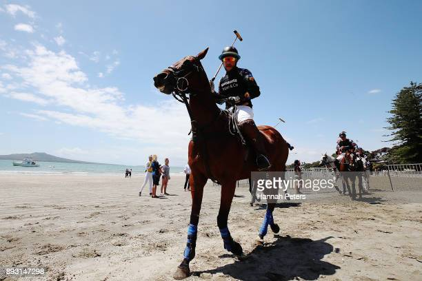 Boyd Allen rides from the field during 2018 Takapuna Beach Polo on December 15 2017 in Auckland New Zealand