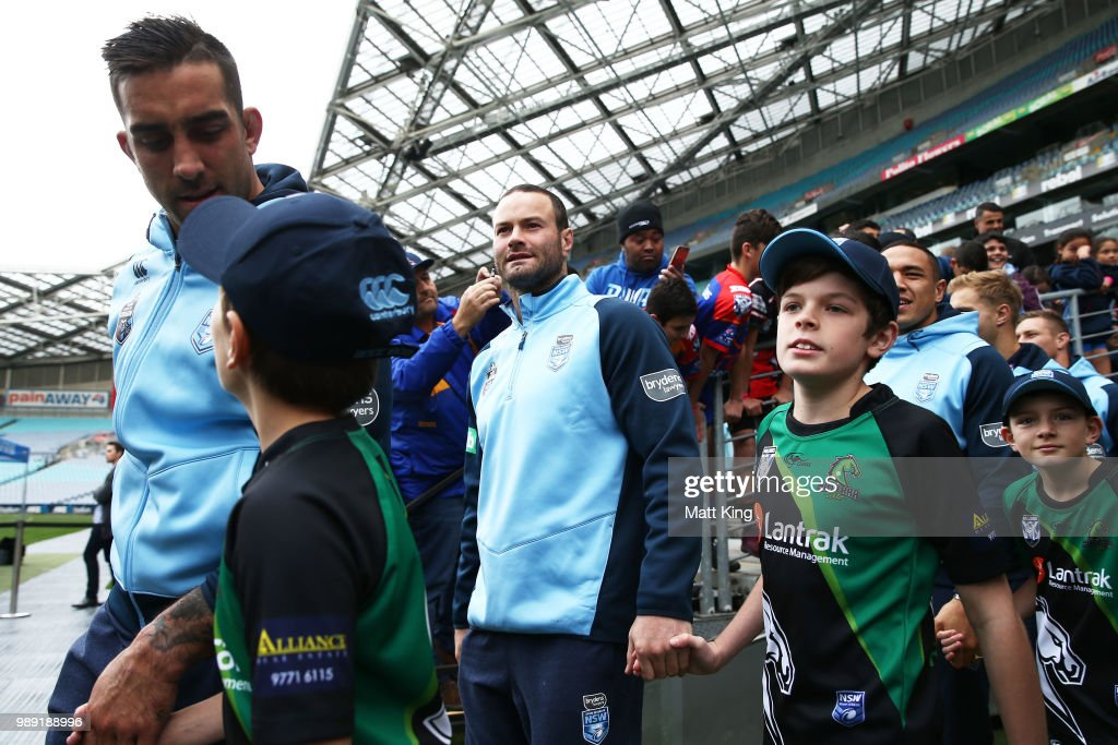 Boyd Cordner arrives during the New South Wales Blues State of Origin Team Announcement at ANZ Stadium on July 2, 2018 in Sydney, Australia.